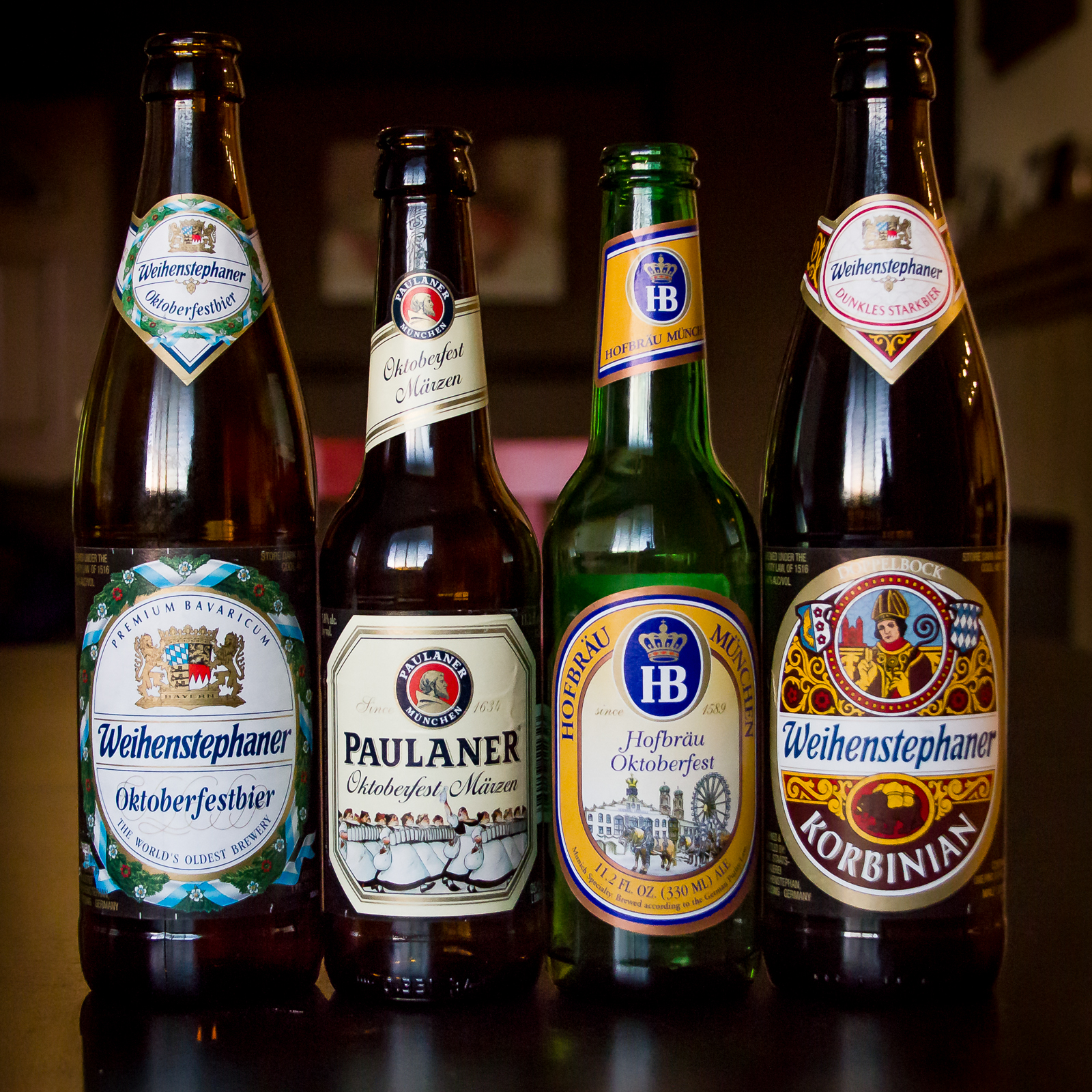Oktoberfest Beers from Weihenstephaner, Hofbräu, and Paulaner. Also, Weihenstephaner Korbinian Doppelbock for good measure.