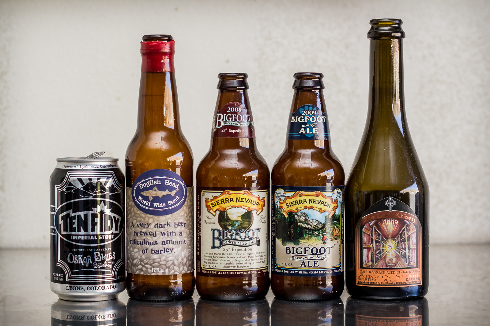 Oskar Blues Brewery, Sierra Nevada Brewing Company, Dogfish Head Brewery, and The Lost Abbey beers.