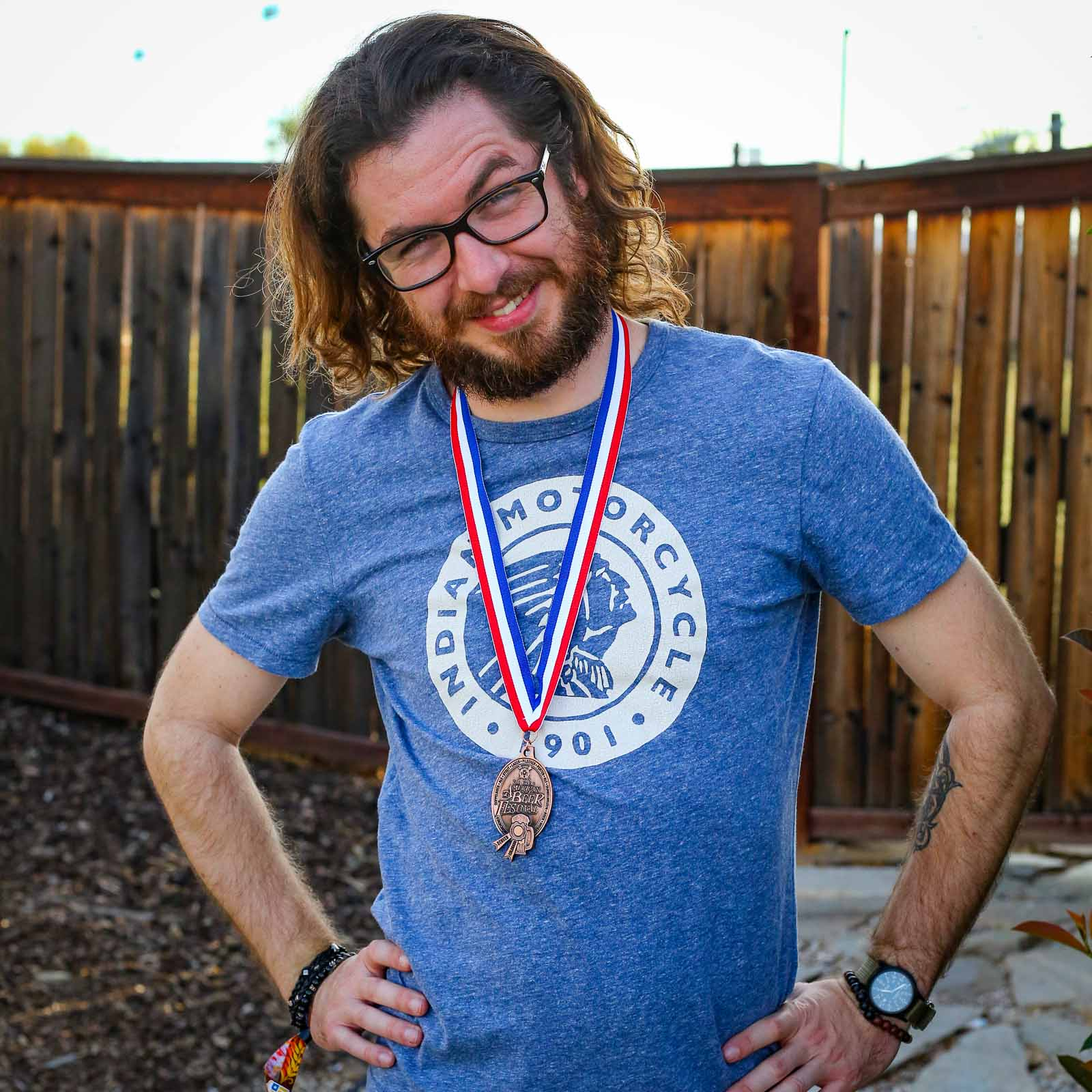 Matt Becker Wearing His Bronze Medal from GABF